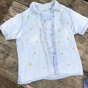 Embroidered Jean style button up tee